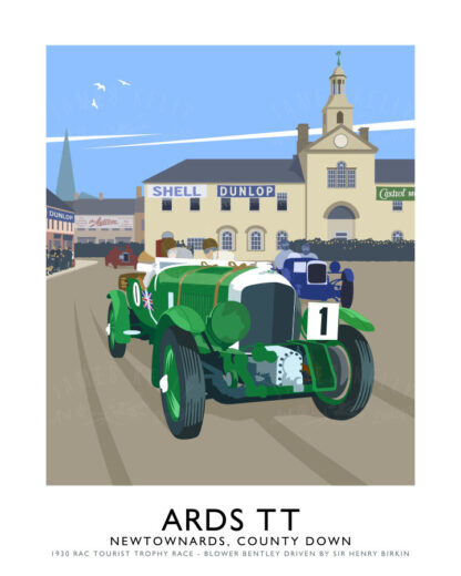 Vintage style art print of a Blower Bentley racing Car in the 1930 Ards TT (RAC Tourist Trophy Races)