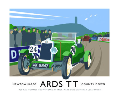 Vintage style art print of a Lea-Francis racing Car in the 1928 Ards TT (RAC Tourist Trophy Races)