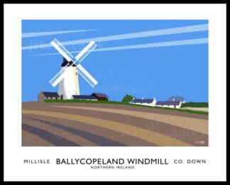 Vintage style art print of Ballycopeland Windmill, Millisle.
