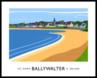 Art print of Ballywalter village and beach.