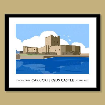 Vintage style art print of Carrickfergus Castle
