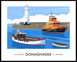 Vintage style art print of the lighthouse and RNLI lifeboat at Donaghadee Harbour.