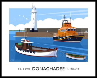 Art print of the Lighthouse, Lifeboat and The Brothers fishing boat at Donaghadee Harbour