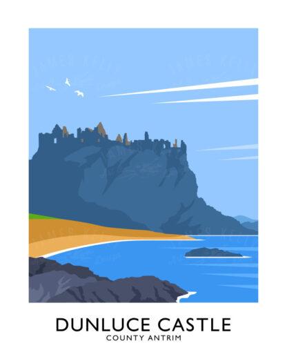 Vintage style art print of Dunluce Castle on the Causeway Coast.