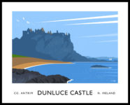 Vintage style art print of Dunluce Castle on the Causeway Coast.