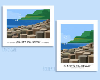 Vintage style art print of the Giant's Causeway, Northern Ireland.
