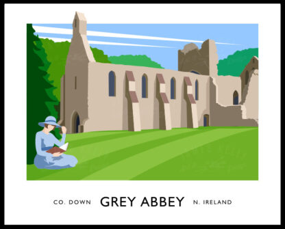 Vintage style art print of Grey Abbey at Greyabbey, County Down