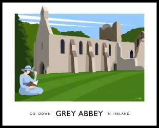 Art print of the monastic ruins at Greyabbey, County Down.