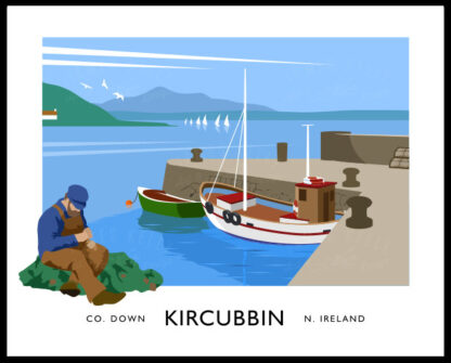 Vintage style art print of Kircubbin harbour, County Down.