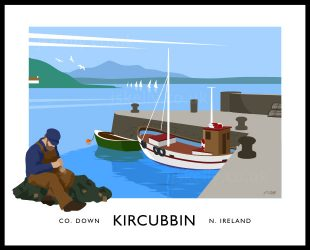 Art print of Kircubbin harbour and Strangford Lough.