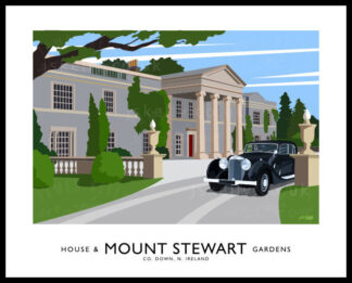 Vintage style art print of Mount Stewart House, County Down