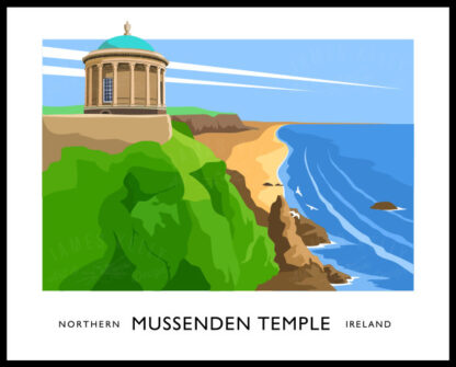 Vintage style art print of Mussenden Temple, Northern Ireland.