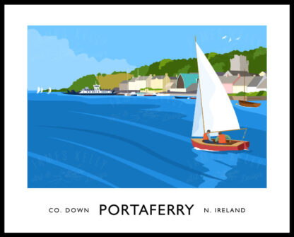 Vintage style art print of Portaferry, County Down