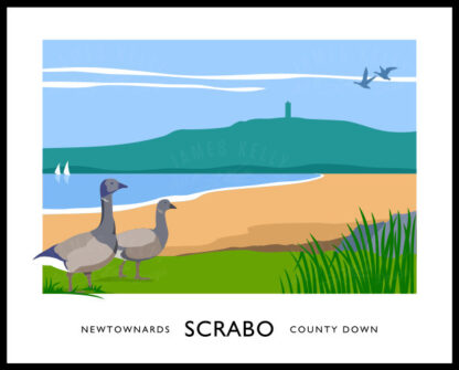 Vintage style art print of Brent Geese at Scrabo, Newtownards.