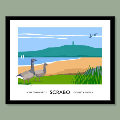 Vintage style art print of Brent Geese at Scrabo, Newtownards.