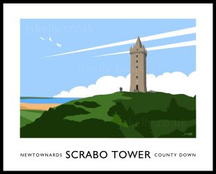 Art print of Scrabo Tower overlooking Newtownards and Strangford Lough