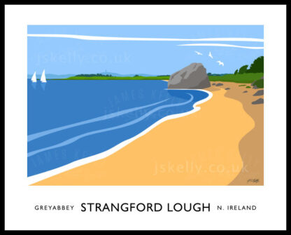 Vintage style art print of Strangford near Greyabbey, County down.