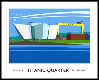 Vintage style art print of Titanic Quarter, Belfast.