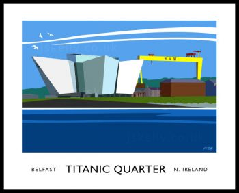 Art print of Titanic Quarter visitor centre and Samson and Goliath cranes, Harland and Wolfe, Belfast.