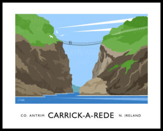 Vintage style art print of Carrick-A-Rede rope bridge, County Antrim.