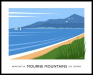 Art print of the Mourne Mountains at Murlough Bay near Newcastle, County Down.