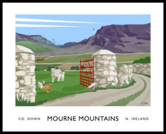 Vintage style art print of Hare's Gap in the Mourne Mountains, Northern Ireland.