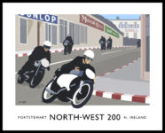 Vintage style art print of the North-West 200 motorcycle races through the streets of Portstewart