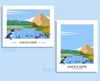 Vintage style travel poster art print of the bird santuary at Castle Espie, Comber, County Down