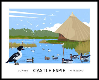 Art print of the bird santuary at Castle Espie, Comber, County Down.