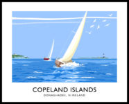 Vintage style art print of the Copeland Islands off Donaghadee, County Down
