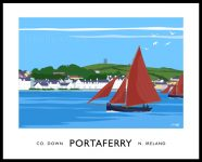 Art print of Galway Hookers sailing past Portaferry, County Down.