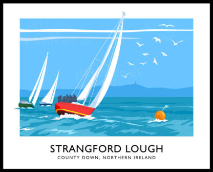 Vintage style art print of sailing yachts on Strangford Lough
