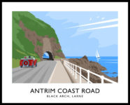Vintage style art print of the Black Arch on the Antrim Coast Road near Larne