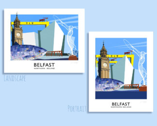 Vintage style travel poster art print of some of the great landmarks of Belfast city