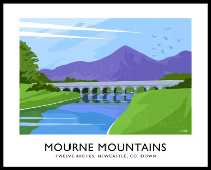 Art print of the Twelve Arches bridge and Mourne Mountains