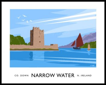 Art print of Narrow Water Castle near Newry, County Down.