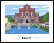Vintage style art print of Newry Town Hall, county Down, Northern Ireland.
