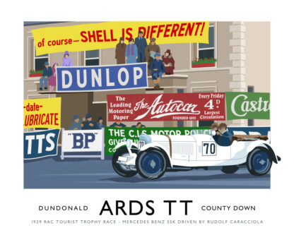 Vintage style art print of Caracciola in a Mercedes racing Car in the 1928 Ards TT (RAC Tourist Trophy Races)