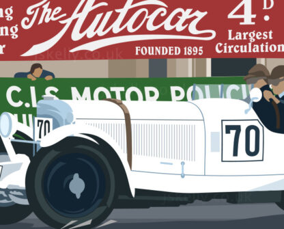 Close-up of Carriciola driving his Mercedes Benz SSK at the Ards TT.