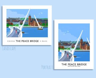 Vintage style art print of The Peace Bridge over the River Foyle, Derry/Londonderry
