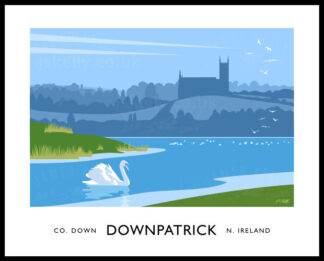 Vintage style art print of Down Cathedral and the River Quoile at Downpatrick, County Down.