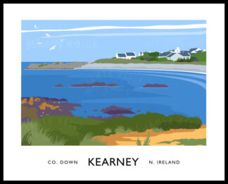 Vintage style art print of Kearney village in County Down