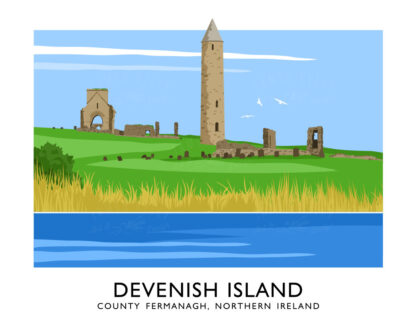 Vintage style art print of Devenish Island near Enniskillen, County Fermanagh
