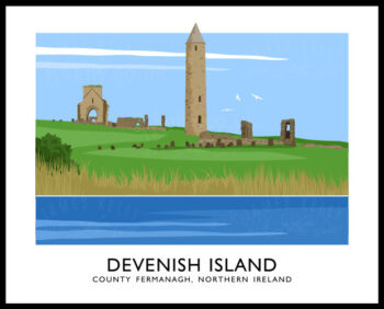 Art print of the round tower and ruins at Devenish Island, County Fermanagh.