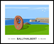 Vintage style art print of Ballyhalbert harbour, County Down