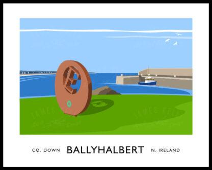 Vintage style art print of Ballyhalbert harbour, County Down