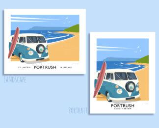 Vintage style travel poster art print of a vw camper van on Portrush East Strand, County Antrim