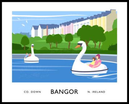 Vintage style art print of Pickie Fun Park in Bangor, County Down