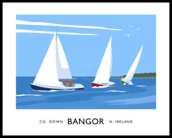 Vintage style art print of sailing yachts in Ballyholme Bay in Bangor, County Down, Northern Ireland.