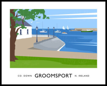 Vintage style art print of the harbour and Cockle Row Cottages at Groomsport, County Down, Northern Ireland.